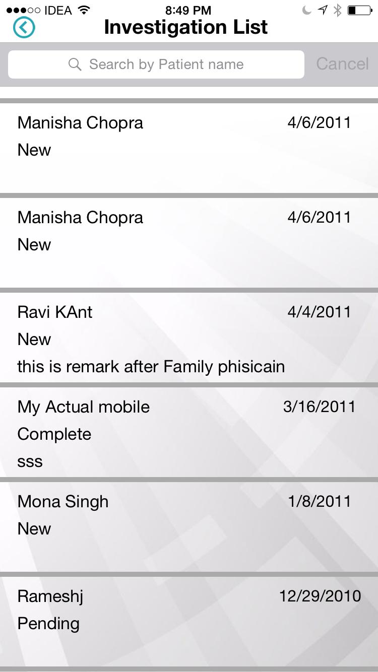 Doctor mobile app for Diagnostic Centers patient list