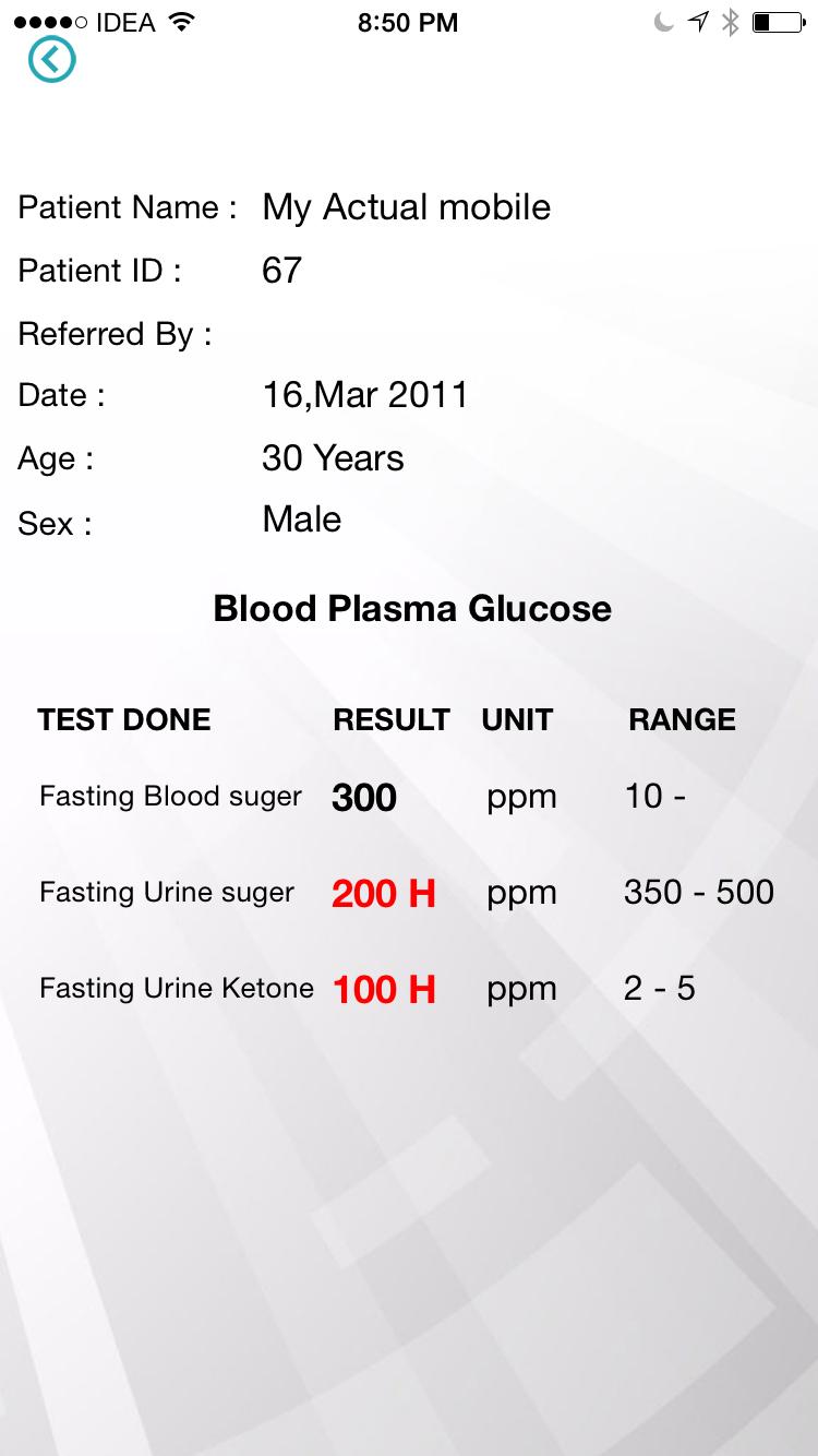 Diagnostic Centers patient  test details